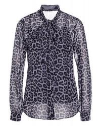 Camicetta manica lunga leopardata nera di Michael Kors