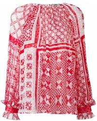 Camicetta manica lunga stampata rossa di Fendi