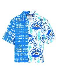 Camicia a maniche corte a fiori bianca e blu di Prada