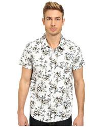 Camicia a maniche corte a fiori bianca e nera