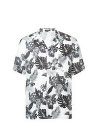 Camicia a maniche corte a fiori bianca e nera di Loveless