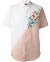 Camicia a maniche corte a fiori bianca di DSquared