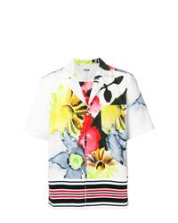 Camicia a maniche corte a fiori bianca di MSGM