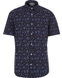 Camicia a maniche corte a fiori blu scuro