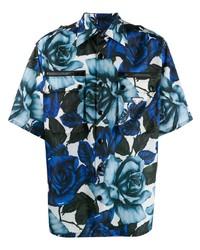 Camicia a maniche corte a fiori blu di Prada