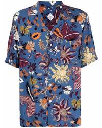 Camicia a maniche corte a fiori blu di Xacus