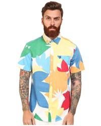 Camicia a maniche corte a fiori multicolore