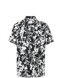 Camicia a maniche corte a fiori nera e bianca