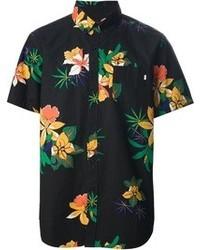 Camicia a maniche corte a fiori nera
