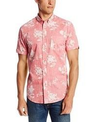 Camicia a maniche corte a fiori rosa