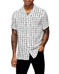 Camicia a maniche corte a quadri bianca e nera