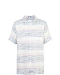 Camicia a maniche corte a righe orizzontali bianca e blu