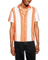 Camicia a maniche corte a righe verticali arancione