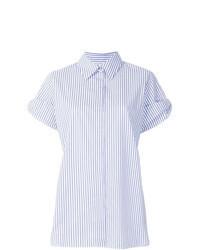 Camicia a maniche corte a righe verticali azzurra