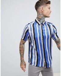 Camicia a maniche corte a righe verticali azzurra di ASOS DESIGN
