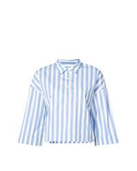 Camicia a maniche corte a righe verticali azzurra di Kule