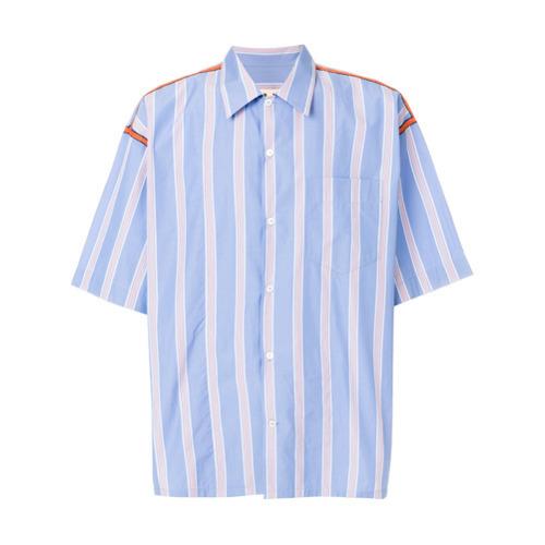 449988f8d5 Camicia a maniche corte a righe verticali azzurra di Marni