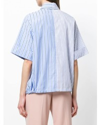 Camicia a maniche corte a righe verticali azzurra di Victoria Victoria Beckham