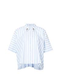 Camicia a maniche corte a righe verticali azzurra di Vivetta
