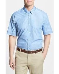 Camicia a maniche corte a righe verticali bianca e blu