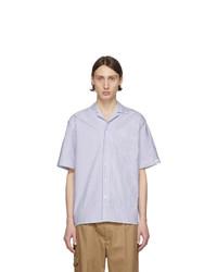 Camicia a maniche corte a righe verticali bianca e blu scuro