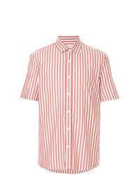 Camicia a maniche corte a righe verticali bianca e rossa