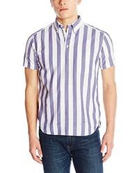Camicia a maniche corte a righe verticali bianca