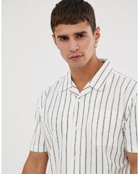 Camicia a maniche corte a righe verticali bianca di Bellfield