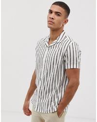 Camicia a maniche corte a righe verticali bianca di Burton Menswear