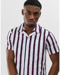 Camicia a maniche corte a righe verticali bianca di Jack & Jones