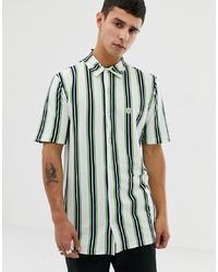 Camicia a maniche corte a righe verticali bianca di Le Breve