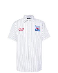 Camicia a maniche corte a righe verticali bianca di R13