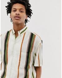 Camicia a maniche corte a righe verticali bianca di Weekday