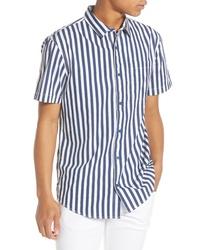Camicia a maniche corte a righe verticali blu scuro e bianca