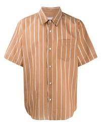 Camicia a maniche corte a righe verticali marrone chiaro di Ami Paris