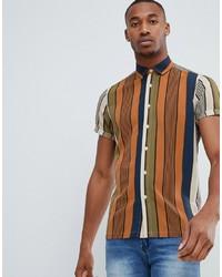 Camicia a maniche corte a righe verticali multicolore