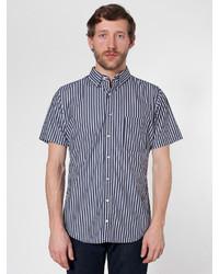 Camicia a maniche corte a righe verticali nera e bianca