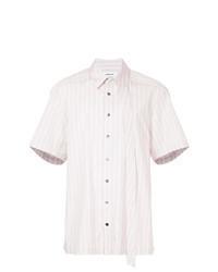 Camicia a maniche corte a righe verticali rosa