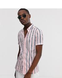 Camicia a maniche corte a righe verticali rosa di ASOS DESIGN