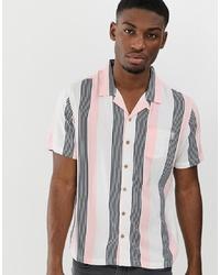 Camicia a maniche corte a righe verticali rosa di Soul Star