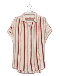 Camicia a maniche corte a righe verticali rossa
