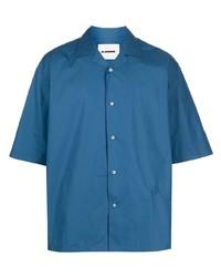 Camicia a maniche corte blu di Jil Sander