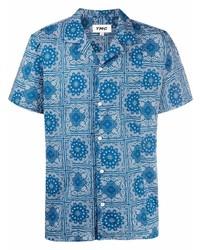 Camicia a maniche corte con stampa cachemire blu di YMC