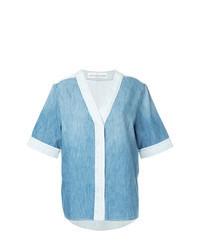 Camicia a maniche corte di jeans azzurra