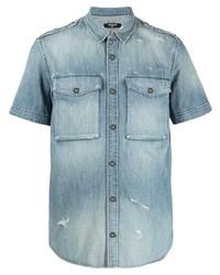 Camicia a maniche corte di jeans azzurra di Balmain