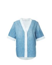 Camicia a maniche corte di jeans azzurra di Golden Goose Deluxe Brand