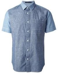 Camicia a maniche corte di jeans blu