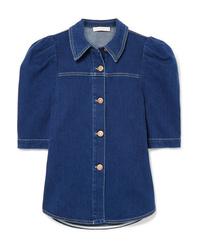 Camicia a maniche corte di jeans blu scuro di See by Chloe