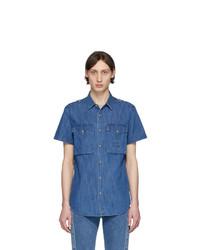 Camicia a maniche corte di jeans blu di Balmain