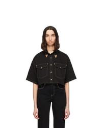 Camicia a maniche corte di jeans nera